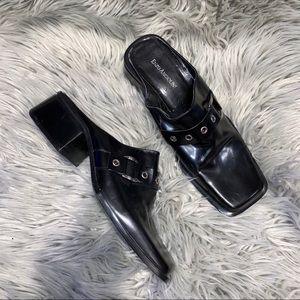 Vtg UO black leather square toe mules